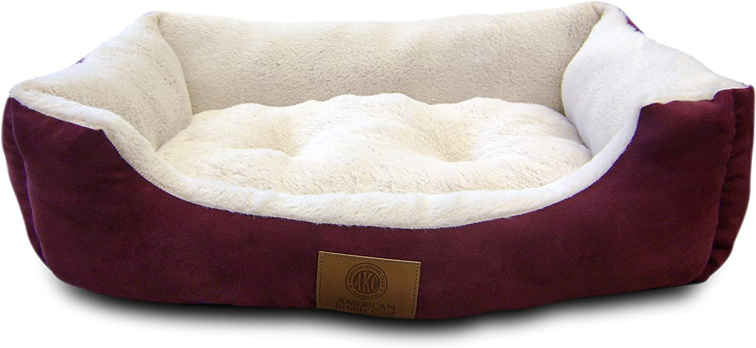 American Kennel Club AKC6320 Burgundy Suede Cuddler Solid Pet Bed, Large, Burgundy