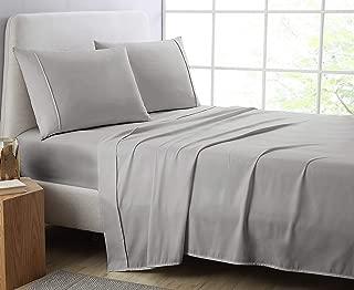 Manor Ridge Luxury 100GSM Brushed Microfiber Hypoallergenic Flat Sheet, Queen, Grey