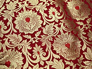 Red Brocade Fabric, Banarasi Brocade Fabric by The Yard, Banaras Brocade Red Gold Weaving for Wedding Dress, Indian Art Silk