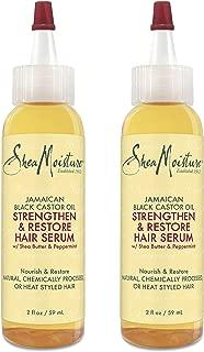 Shea Moisture Jamaican Black Castor oil Strengthen & Restore Hair Serum with Shea Butter & Peppermint 2 oz - Value Double Pack qty of 2 Each