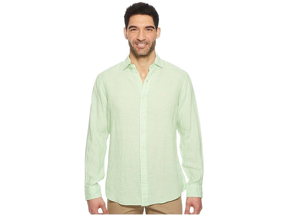 Polo Ralph Lauren Linen Spread Long Sleeve Sport Shirt (Lime/White) Men
