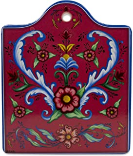 Essence of Europe Gifts E.H.G Rosemaling Decorative Painting red Porcelain Cheeseboard with Cork Backing