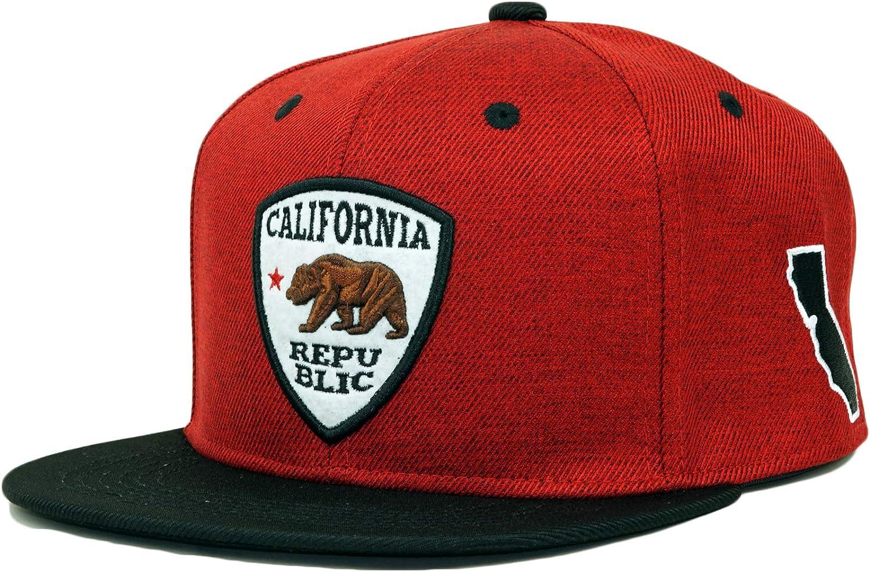 Bingoo California Republic Twill Snapback Hat Adjustable CA Map Baseball Cap