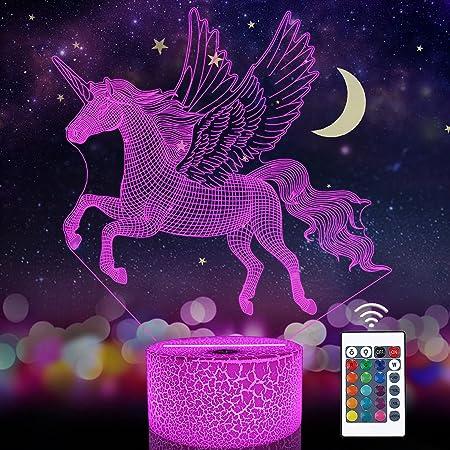 Veilleuse licorne pour enfant - Illusion d'optique 3D - 16 couleurs changeantes - Éclairage d'anniversaire ou de Noël - Cadeaux étonnants pour bébé et fille