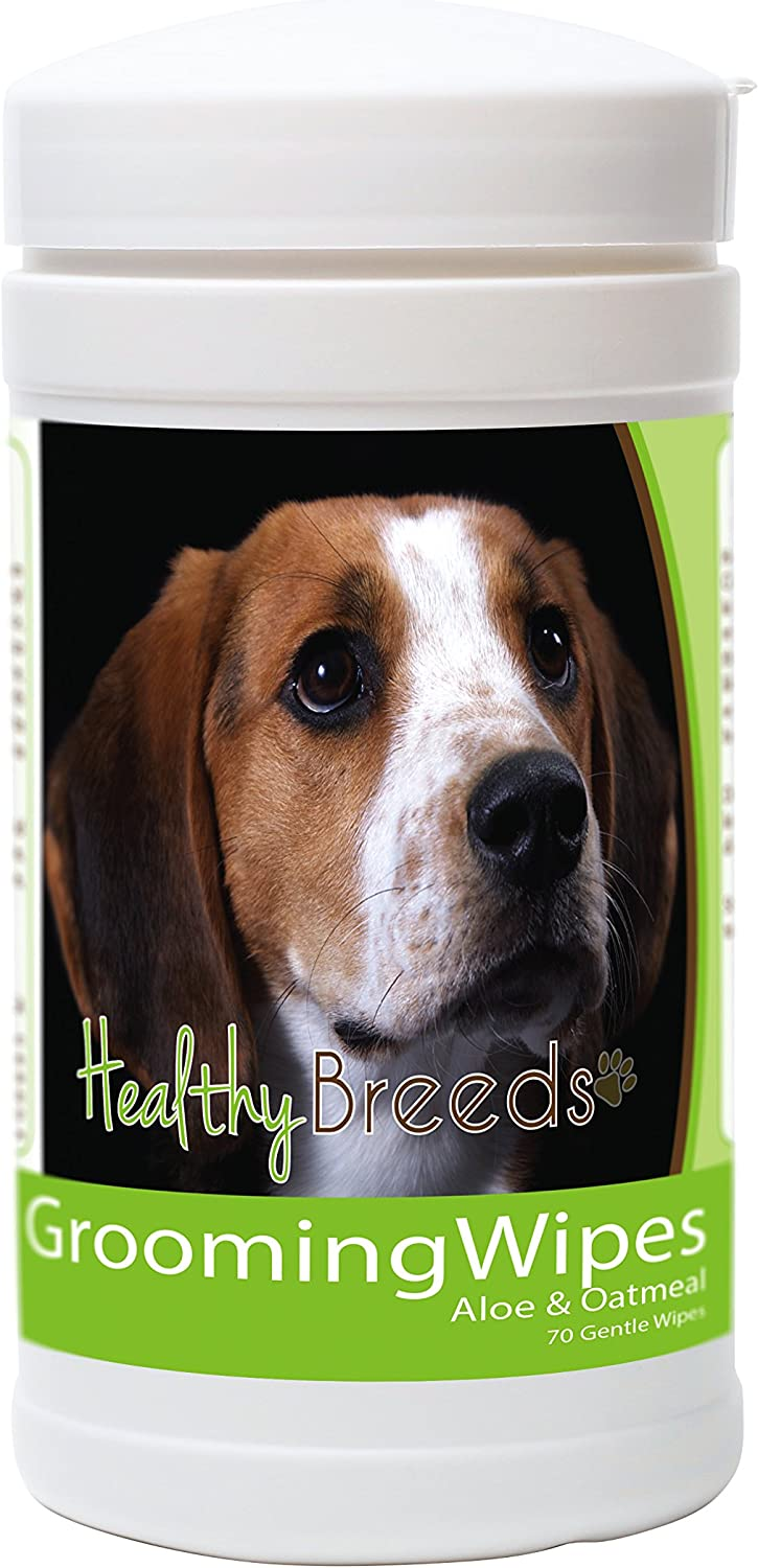 Healthy Breeds Dog MultiPurpose Grooming & Deodorizing Wipes for American English Coonhound   OVER 200 BREEDS  Cleans Paw Pads Skin Folds Armpits Face Butt  70 Count  Aloe & Oatmeal for Sensitive Skin