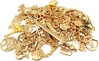 YYaaloa 100g (40-60pcs) Gold Mixed Charms Pendants Assorted DIY Antique Charms Pendant