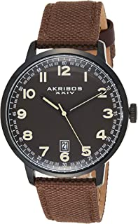 Men's Canvas Classic Watch - Clear Arabic Numeral Markers On a Comfortable Covered Genuine Leather Strap - AK1025