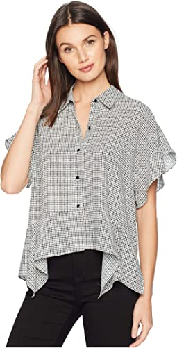 Short Sleeve Fine Puppytooth High-Low Hem Blouse