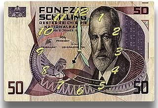 Money Clocks Sigmund Freud Oesterreichische Nationalbank Series 1986 50 Austrian Schilling 8 x 12 inch Wall Clock Father of Psychoanalysis