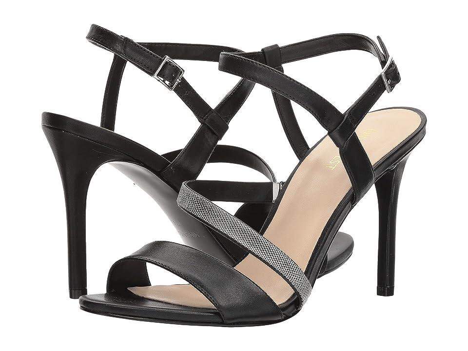 Nine West Mysid Strappy Heel Sandal (Black Soft Calf) High Heels