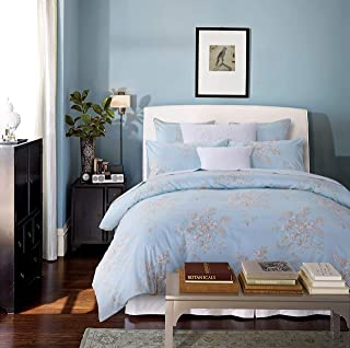 Softta Retro Chic Bohemia French Farmhouse Bedding Sets 3Pcs Queen Size Duvet Cover Sets 88 x 88 inches Damask 100% Egyptian Long-Staple Cotton Vintage Bauhinia Flower Baby Blue