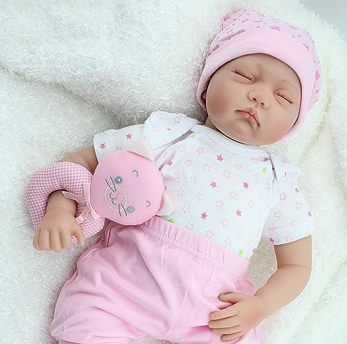 ZIYIUI 22 Zoll realistische Reborn Babypuppe Silikon Vinyl 5cm Sü Neugeborenes Baby Puppe Junge mädchen Reborn Baby doll