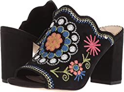 Black/Black Multi Embroidery Diva Suede Leather