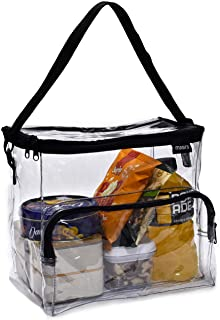 Clear Lunch Bag - Durable PVC Plastic See Through Lunch Bag with Adjustable Shoulder Strap Handle for Prison Correctional Officers, Work, School, Stadium Approved, Freezer Proof and Lead Free (Large)