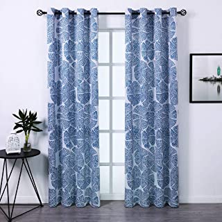 SHIELD CREATOR Blackout Curtains 2 Panels 52x63 Geometric Print Pattern Curtains Thermal Insulated Grommets Drapes for Bedroom