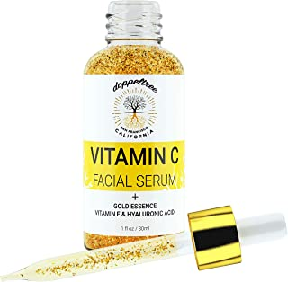 Vitamin C Face Serum with 24K Gold Flakes, Hyaluronic Acid, Vitamin E, Ginseng - Anti Aging Treatment Serum for Face - Glowing Skin, Wrinkle & Dark Spot Remover - Formulated in San Francisco