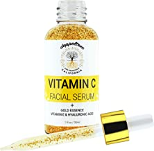 Vitamin C Serum for Face with Real Gold Essence - Anti Aging Treatment for Glowing Skin, Wrinkle & Dark Spot Remover - Made with Hyaluronic Acid, Vitamin E, 24K Gold - Formulated in San Francisco