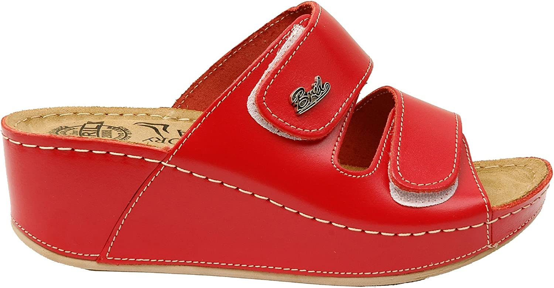 BRIL Dr Punto Rosso D112 Sandales Sabots Mules Chaussons Chaussures en Cuir Femme Dames