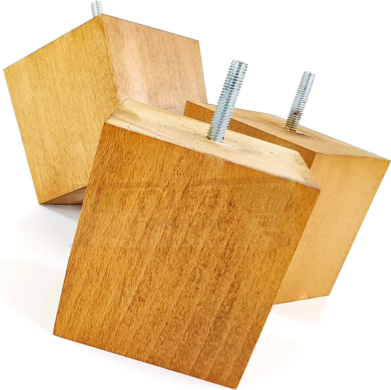 Lot de 4 pieds en bois massif de rechange pour meubles de 90 mm de hauteur pour canapés, chaises, tabourets M10 (10 mm) TSP2037 (chêne moyen) Chêne Moyen.