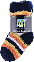 Hot Feet Solid Patterned Cozy Crew 6 pk Socks for Toddler Boys and Girls (Sizes 4 – 5.5)