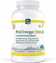 Nordic Naturals ProOmega 2000-D - Fish Oil, 1125 mg EPA, 875 mg DHA, 1000 IU Vitamin D3, High-Intensity Support for Cardiovascular, Neurological, Eye, and Immune Health*, Lemon Flavor, 120 Soft Gels