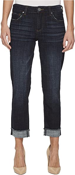KUT from the Kloth - Amy Crop Straight Leg-Roll Up Frey Jeans in Acknowledging/Euro Base Wash