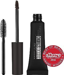 Maybelline TattooStudio Longwear Waterproof Eyebrow Gel Makeup for Fully Defined Brows, Spoolie Applicator Included, Lasts Up To 2 Days, Black Brown, 0.23 Fl Oz (1 Count)