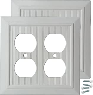 Pack of 2 Wall Plate Outlet Switch Covers by SleekLighting | Classic Beadborad Wall plates| Variety of Styles: Decorator/Duplex/Toggle/Blank / & Combo | Size: 2 Gang Receptacle