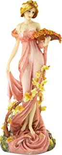 Top Collection Decorative Art Nouveau Women Statue -Hand Painted Flower Lady Sculpture in Pink Dress- 10.75-Inch Alphonse Mucha Statue French Collection