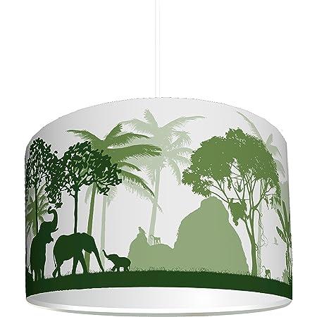 """STIKKIPIX abat-jour """"Jungle verte"""" – KL43 – lampe dans le style jungle à installer facilement – idéal comme lampe à pied ou comme lustre – parfait pour les garçons et les filles"""