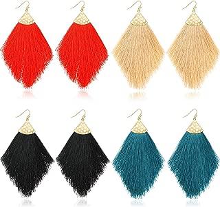 4 Pairs Boho Feather Tassel Drop Earrings Thread Fringe Hook Earrings for Women