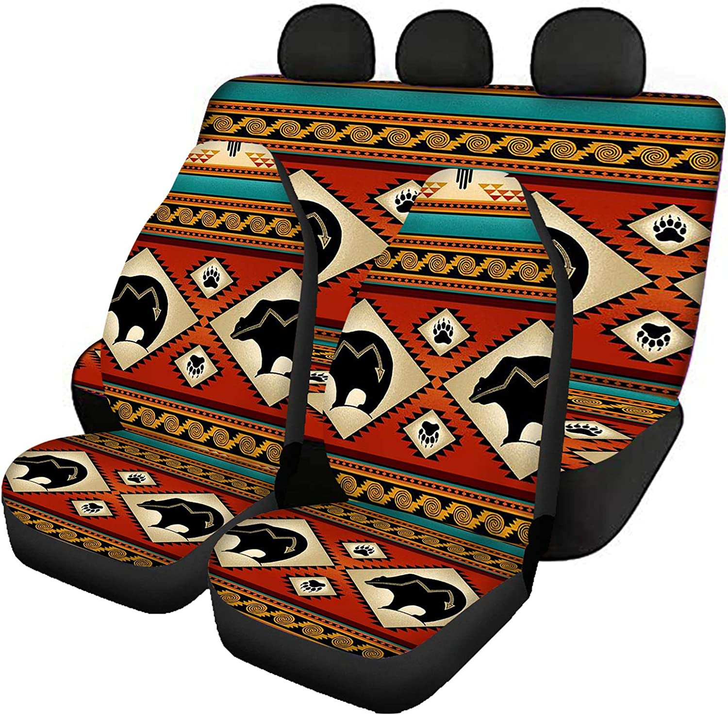 Buybai 4 PCs Manufacturer regenerated product Aztec Paws Print Auto Memphis Mall Seat Covers Cool for Cars Car