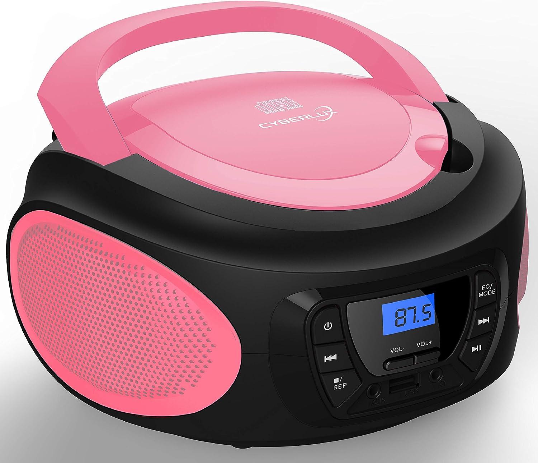 | CD//CD-R Boombox Bleu cobalt Prise casque USB Radio FM Radio CD Lecteur CD portable Cha/îne st/ér/éo Radio pour enfant Entr/ée AUX Syst/ème compact