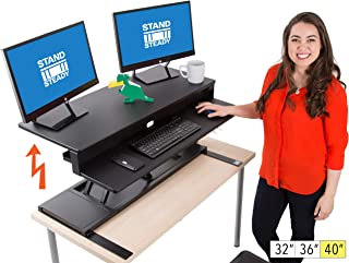 Flexpro Power 40 Inch Electric Standing Desk | Electric Height-Adjustable Stand up Desk | by Award Winning Stand Steady! Holds 2 Monitors + Laptop! | Easy Quiet Adjustments! (Black) (40