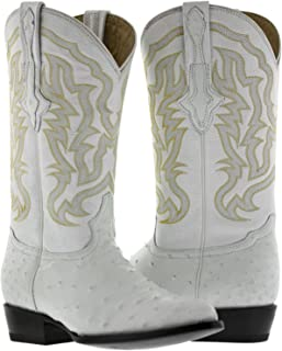 Men's White All Real Ostrich Quill Skin Cowboy Boots J Toe 14 E