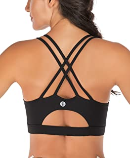 Strappy Sports Bra for Women, Sexy Crisscross Back Medium...