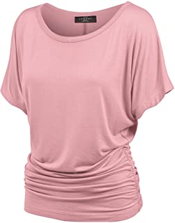 Made By Johnny MBJ Women`s Solid Short Sleeve Boat Neck V Neck Dolman Top with Side Shirring-Made in U.S.A.
