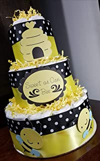 3 Tier Diaper Cake - Sweet as Can Bee/What Will it Bee Bumble Bee Theme Diaper Cake - Baby Shower Centerpiece