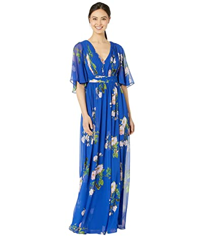 Adrianna Papell Flutter Sleeve Chiffon Floral Evening Gown (Royal Multi) Women