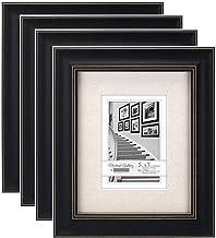 Malden International Designs Barnside Portrait Gallery Textured Mat Picture Frame, 5x7/8x10, 4 Pack, Black