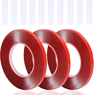 Noverlife 3PCS 30m/36yd Double Side Adhesive Nail Art Tape with 10PCS Arcylic Nail Display Sticks, Waterproof Removable Traceless Clear Mounting Tape for Salon Nail Tips Colors Designs Showcase