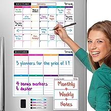 STYLIO Dry Erase Calendar Whiteboard. Set of 3 Magnetic Calendars for Refrigerator:..