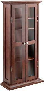 Winsome Solid Wood DVD/CD Cabinet - Antique Walnut