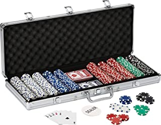 WISHKEY 500 pcs Casino Style Ceramic Poker Chips Set with a Aluminum Finish Case, 2 Decks of Cards, 5 dice,1 Dealer Button (Classic Multiplayer Game)