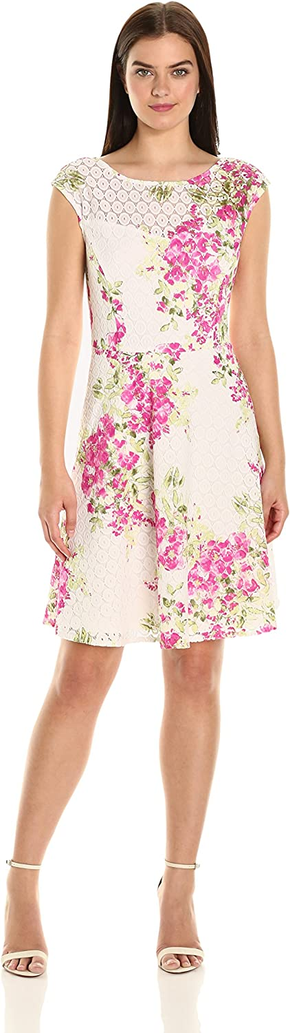 Sandra Darren Women's Extended Shoulder Printed Lace Fit and Flare Dress