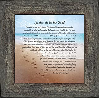 Elegantly Yours Footprints in The Sand, Footprints in The Sand Wall Art, Footprints Poem, 10x10 8639BW