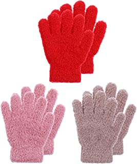 Boao 3 Pairs Kids Gloves Full Finger Mittens Winter Knitted Gloves for Little Boys and Girls Supplies