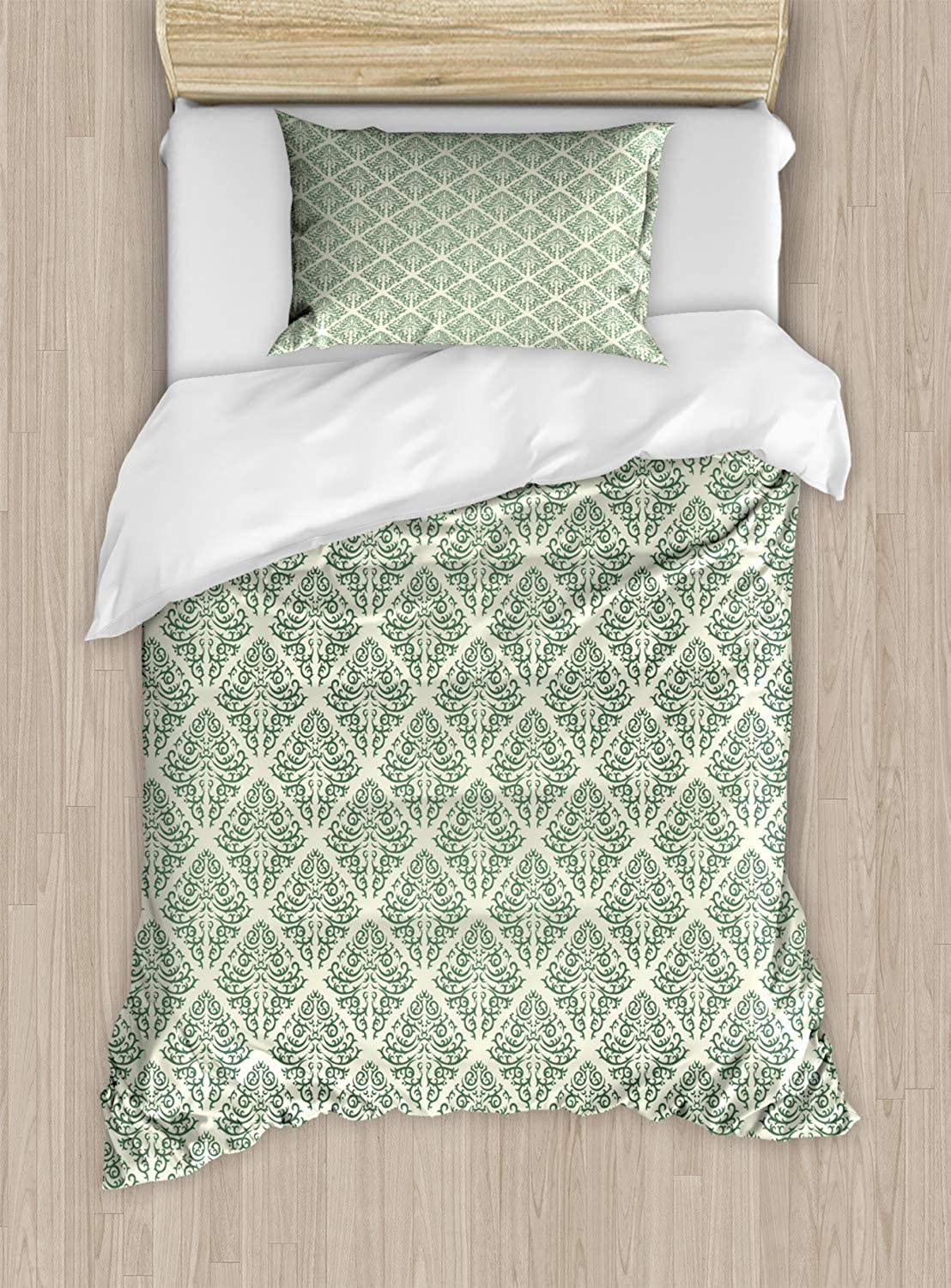 VpinkLVHOME Abstract Green Duvet Cover Set Twin Size Continuous Vintage Design Victorian Damask Swirls Pattern,2 Piece Bedding Set with with 1 Pillowcase for Kids Bedding,Jade Green and Pastel Green