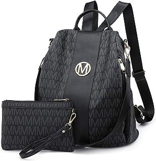 MKP Women Fashion Backpack Purse Multi Pockets Signature Anti-Theft Rucksack Travel School Shoulder Bag Handbag with Wristlet