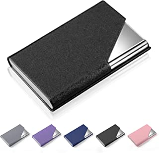 Business Card Holder Case, AHGXG Professional Slim Name Card Case Credit Card ID Holder PU Leather&Stainless Steel Metal Wallets with Magnet Shuts for Men&Women, Keep 20 Business Cards, Black